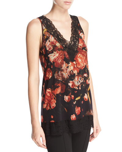 Lace-Trimmed Floral V-Neck Shell, Red/Black