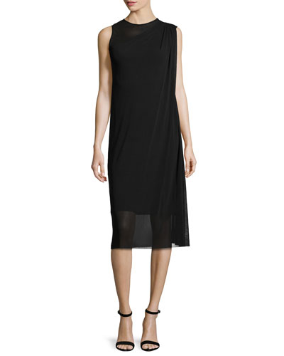 Sleeveless Asymmetric Draped Dress, Black