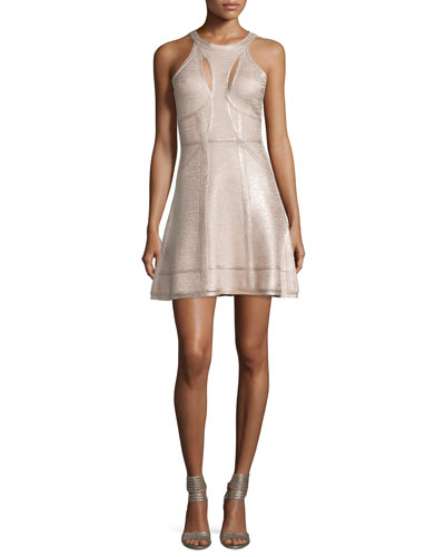 Cutout Fit-&-Flare Bandage Dress, Rose Gold Foil