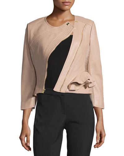 Leather Diagonal-Zip Jacket, Nubuck