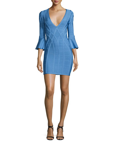 3/4 Flutter-Sleeve Bandage Dress, French Blue