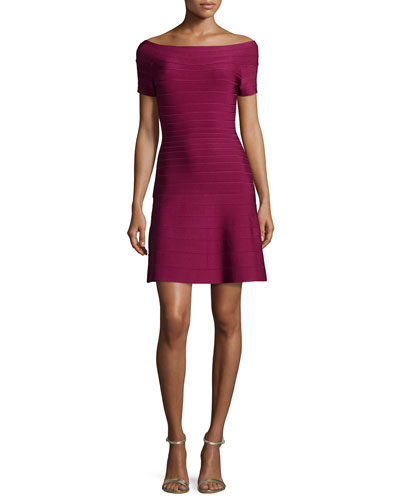Short-Sleeve Bateau-Neck Bandage Dress, Raspberry