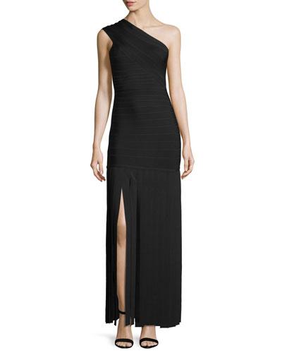 One-Shoulder Car-Wash Gown, Black