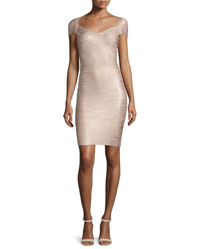 Cap-Sleeve Bandage Dress, Rose Gold Combo
