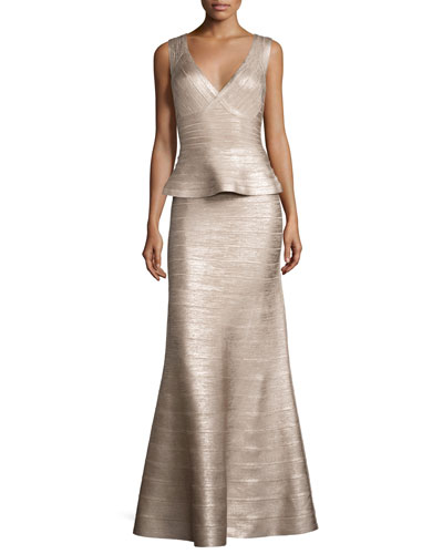 Sleeveless V-Neck Peplum Gown, Rose Gold Foil
