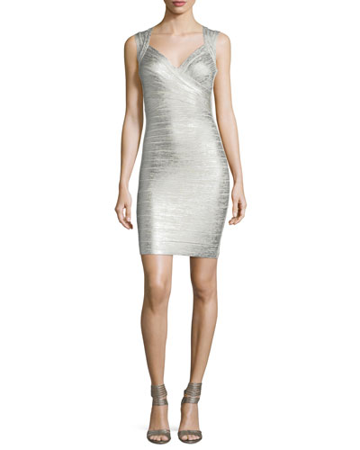 Iman Deep-V Sleeveless Bandage Dress, Silver/Combo