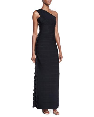 One-Shoulder Lattice Jacquard Gown, Black