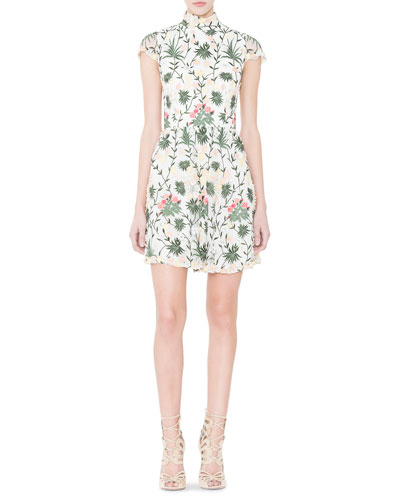 Tari Floral Embroidered Open-Back Dress, Multicolor