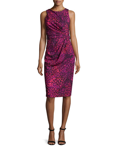 Sleeveless Printed Ruched Sheath Dress, Orchid/Multicolor