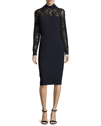 Collared Lace-Trim Crepe Sheath Dress, Navy/Black