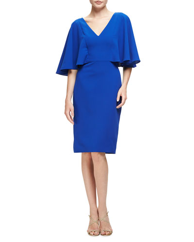 Flutter-Sleeve Crepe Cocktail Dress, Royal Blue