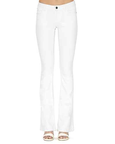 Stacey Stretch Boot-Cut Jeans, White