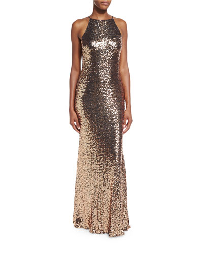 Sleeveless Cowl-Back Sequin Column Gown, Copper