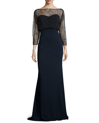 3/4-Sleeve Beaded Blouson Gown, Black/Navy