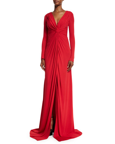 Long-Sleeve Twist-Front Jersey Gown, Red