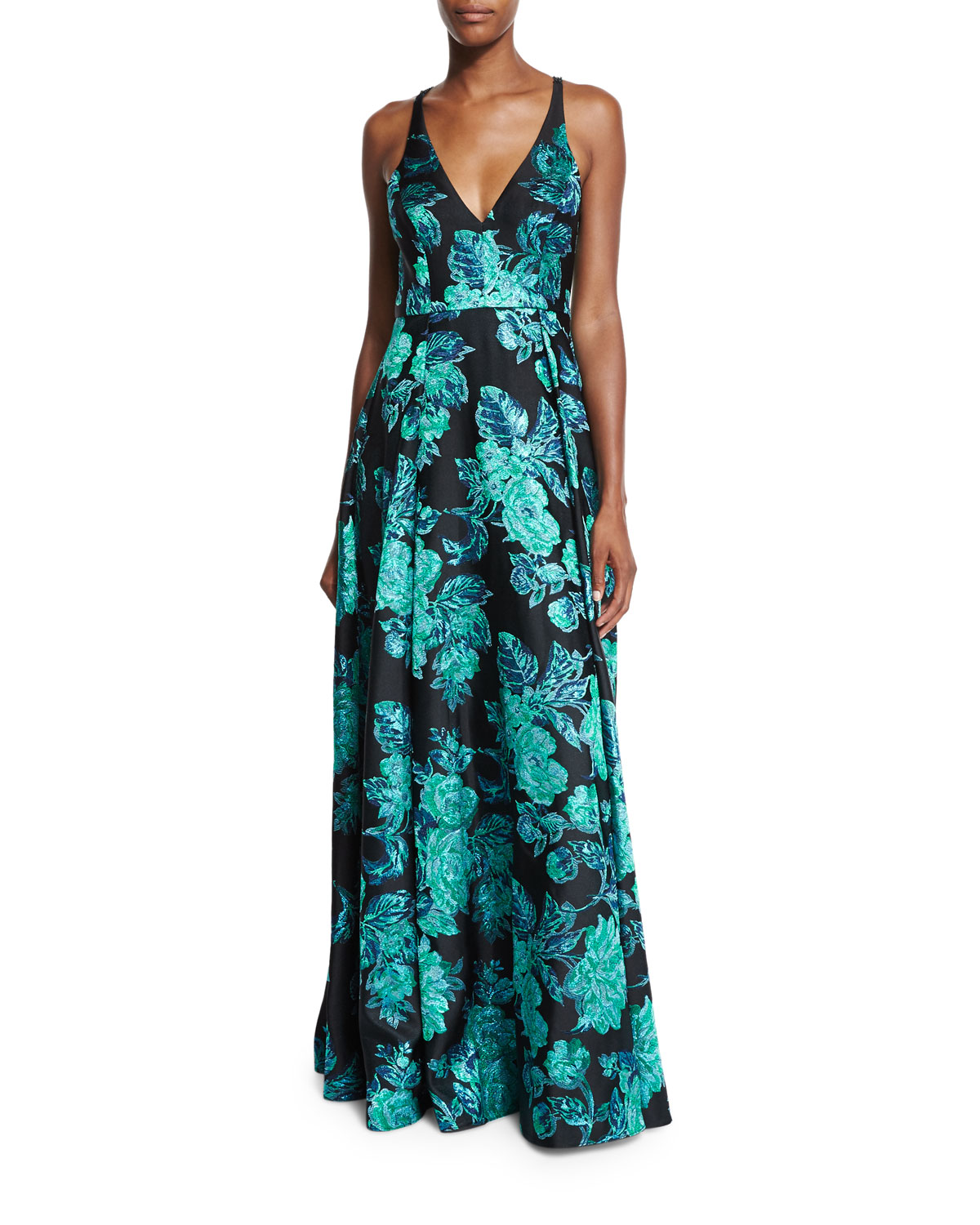 Sleeveless V-Neck Beaded Floral Gown, Black/Green