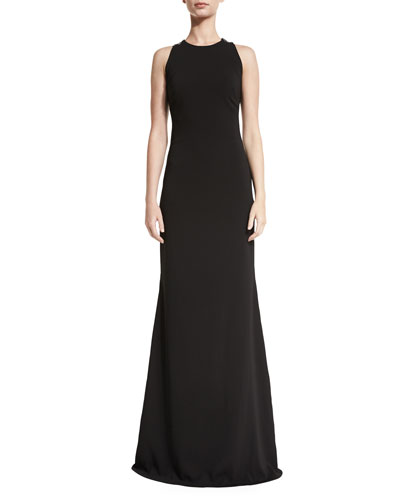 Sleeveless Lace-Back Ponte Gown, Black