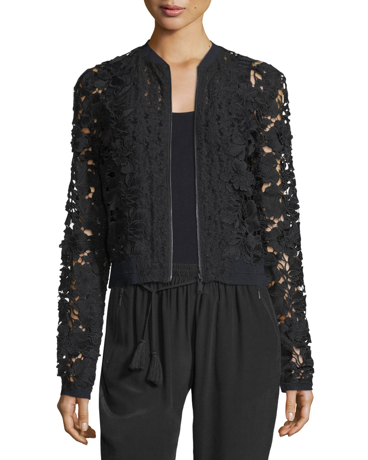 Glenna Lace Bomber Jacket, Black