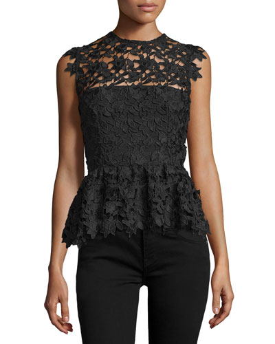 Hannah Sleeveless Lace Peplum Top, Black