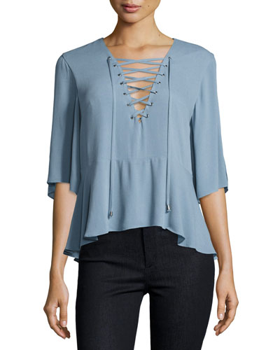 Boulevard Lace-Up Top, Dusty Blue