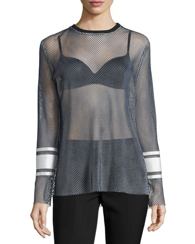Enza Long-Sleeve Mesh Top, Navy