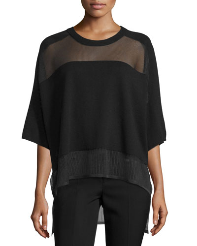 Oversized Boxy Pointelle Tee, Black