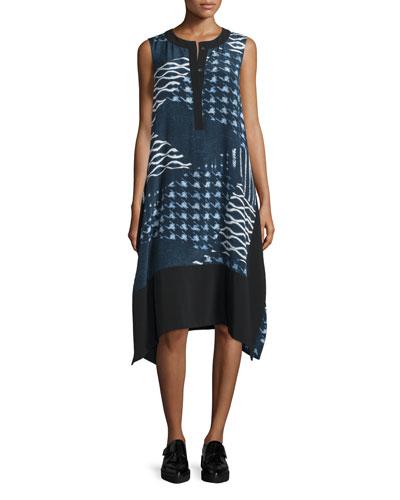 Cyra Printed Silk-Blend Shift Dress, Navy