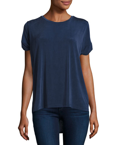 Short-Sleeve Cupro-Blend High-Low Tee