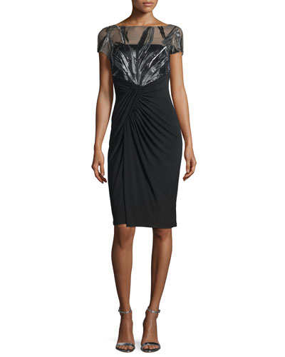 Short-Sleeve Illusion-Bodice Cocktail Dress
