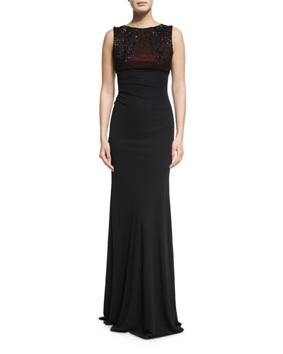 Beaded Lattice Sleeveless Column Gown, Black/Red