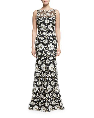 Floral Sleeveless Illusion Gown, Black/White