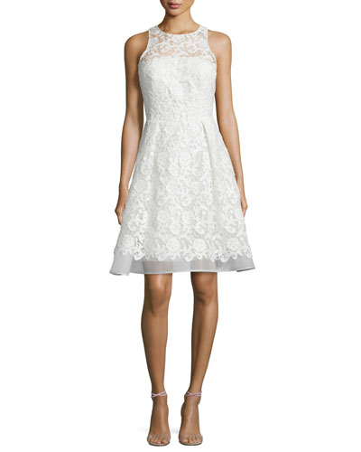 Sleeveless Fit-and-Flare Lace Dress