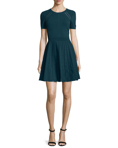 Short-Sleeve Pointelle-Trim Fit-&-Flare Dress, Peacock
