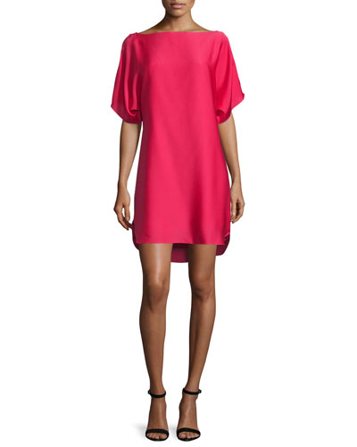 Boat-Neck Dolman Shift Dress, Rose