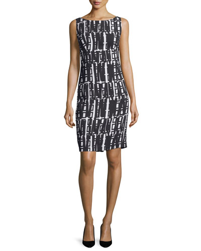 Linear Geometric-Print Sheath Dress, White