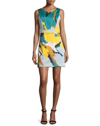 Sleeveless Modern Camo-Print Dress, Multi Colors