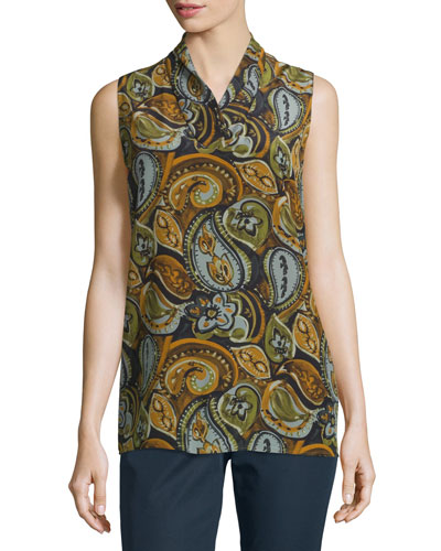 Ruby Sleeveless Paisley-Print Silk Blouse, Anise Multi