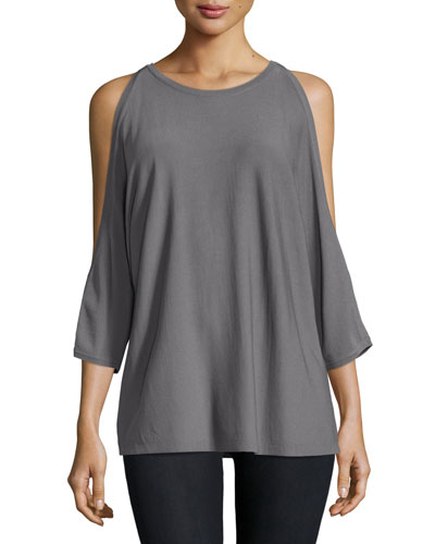 Open-Shoulder Round-Neck Pullover, Gray