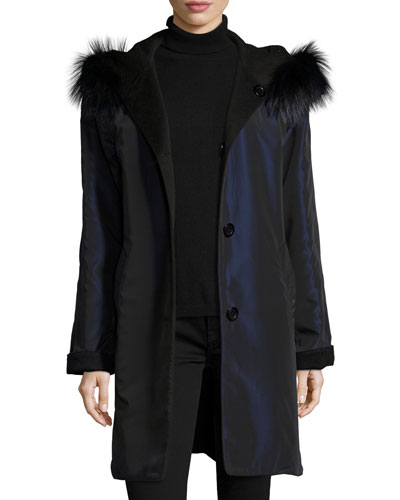 Reversible Button-Front Fur-Trim Raincoat, Midnight/Black