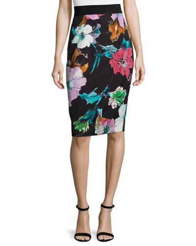 Paper Floral-Print Midi Skirt, Black