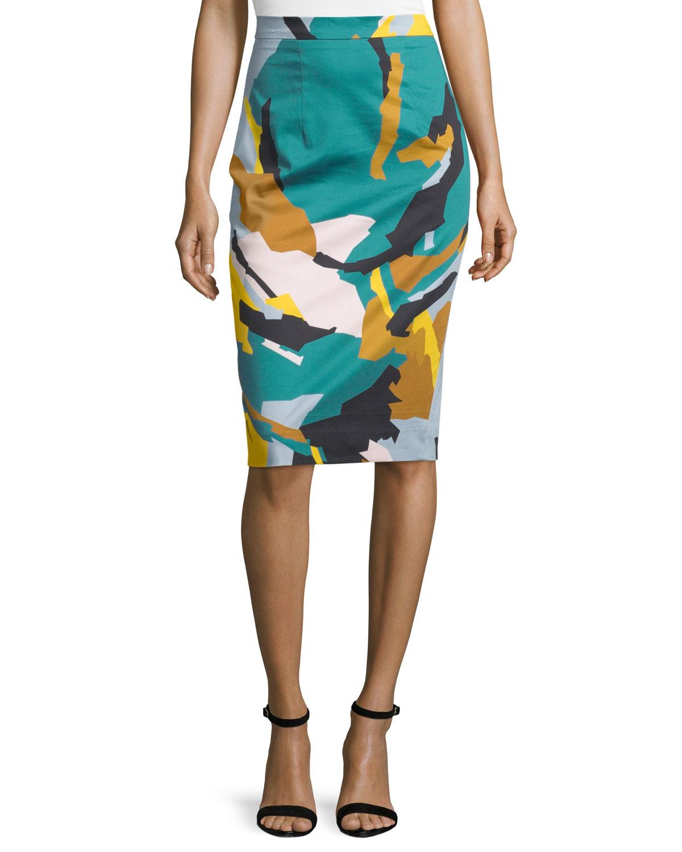 Modern Camo-Print Midi Skirt, Multi