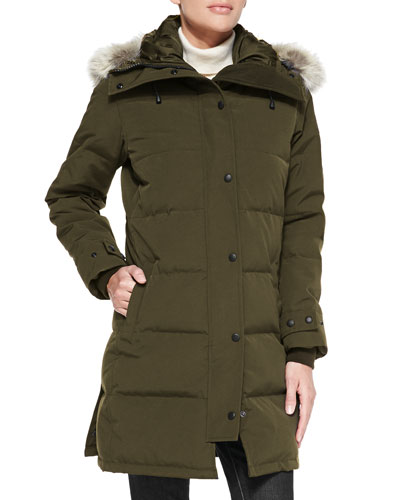 Shelburne Parka Coat with Fur Hood, Military Green