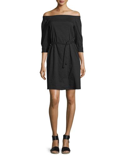 Zizenna Off-the-Shoulder Crunch-Wash Dress, Black