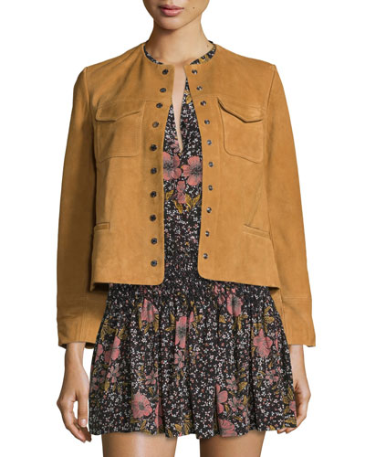 Boxy Suede Snap-Front Jacket, Camel