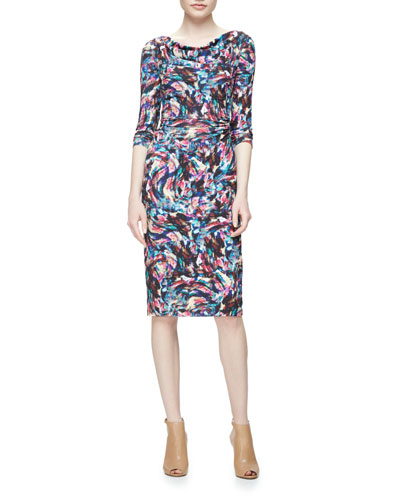 Long-Sleeve Confetti Jersey Sheath Dress, Pink/Multicolor