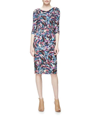 Long-Sleeve Confetti Jersey Sheath Dress, Pink/Multicolor