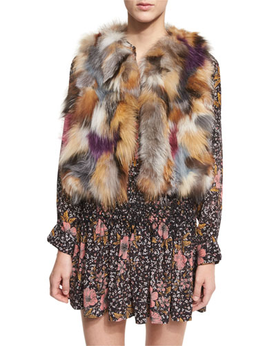 Sleeveless Fox Fur Bolero, Parme
