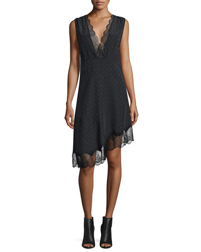 Lace-Trim Silk Jacquard Asymmetric Dress, Noir