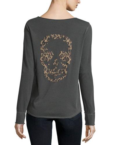 Long-Sleeve Henley Skull Tee, Carbon