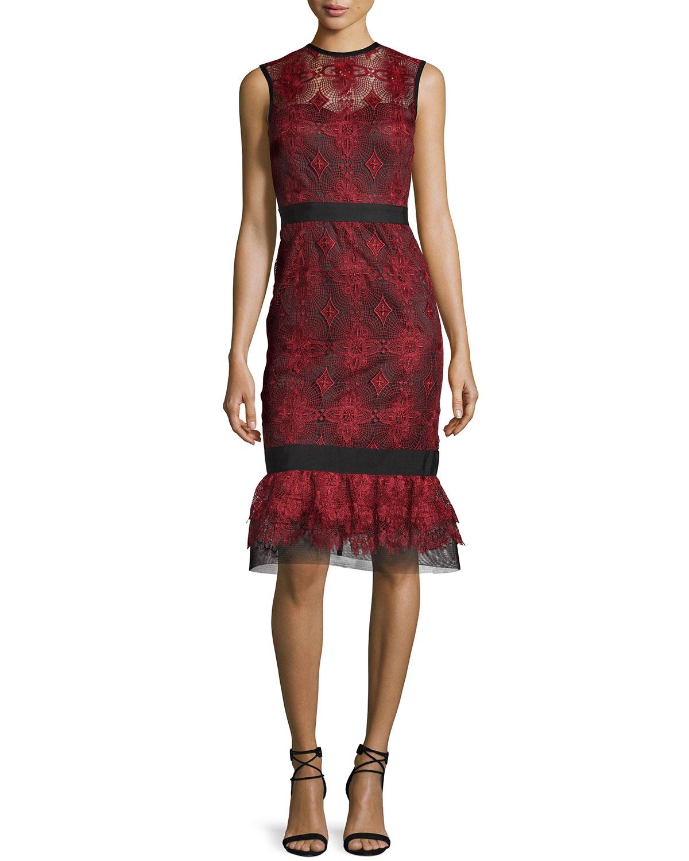 Sleeveless Lace Flounce Dress, Port Red/Black